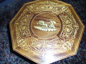 Vintage Sorrento Italy Antique Music Box Inlaid Table