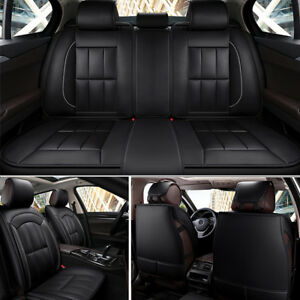 Full Set Pu Leather Car Seat Cover Universal Cushion Front Rear 5 Seat Black