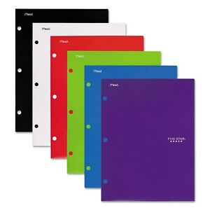 Mead Five Star 2 Pocket Folder With Three hole Punched assorted Colors 6 Pack