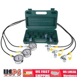 New Excavator Hydraulic Pressure Test Kit With Testing Hose Coupling And Gauge