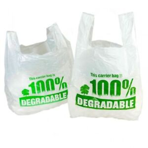 100 White Degradable Carrier Bags Plastic shopping stores material vest Eco