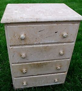 Old Chest Of Drawers Dresser Apothecary Side Table Farmhouse Primitive Antique