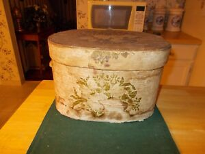 Dated 1855 Wallpaper Hatbox Made By Hannah Davis Of East Jeffery New Hampshire