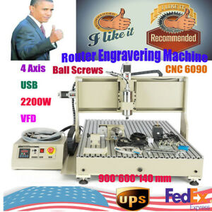 Usb 4 Axis Cnc 6090 Router Engraver Engraving Metal Drilling Machine 2200w Vfd