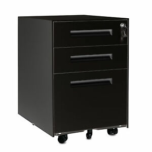 Modernluxe 3 drawer Metal Mobile Filing Cabinets With Lock Home Office Lockable