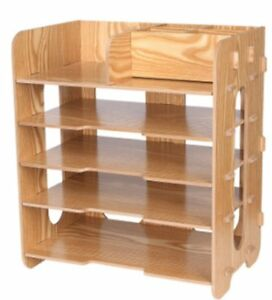 J bless 5 Tier Wood Desktop Letter Tray Organizer paper Stacking Trays filing