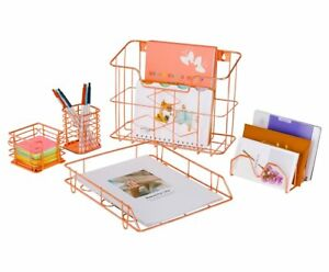 Pag Rose Gold Office Supplies 5 In 1 Desk Organizer Set Hanging File