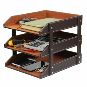 Office File Document Organizer Tray Ezeso 3 Tier Pu Leather Magazine File