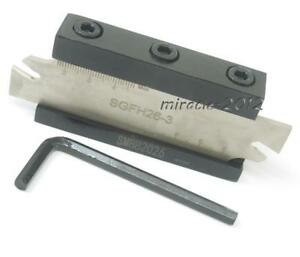 A Set Of Sgfh326 sgfh26 3mm Cut Off Grooving Parting Blade Smbb2026 Tool Holder