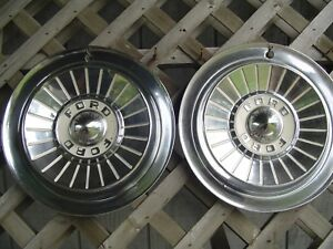 Two 1957 57 Ford Fairlane Thunderbird T Bird Hubcaps Wheel Covers Center Cap