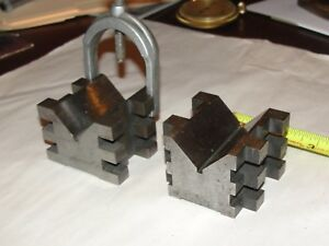 Pair Of Machinist V blocks W A Clamp