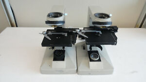 L3 Lot Of 2 Nikon Alphaphot Microscope Base With Stage