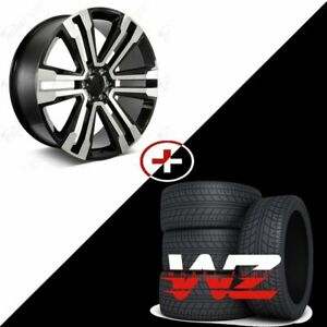 26 Aftermarket Gloss Machined Black Wheels W Tires Fit Chevrolet Gmc