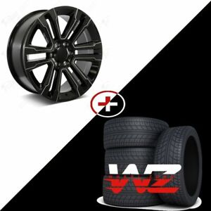 26 Aftermarket Gloss Milled Black Wheels W Tires Fit Chevrolet Gmc