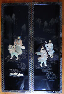 2 Japan Shibayama Inlay Mother Of Pearl Wall Hanging Plaques Black Lacquer Vtg