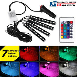 Us 4x 9led Car Inside Atmosphere Neon Lights Strip Rgb Music Control Ir Remote