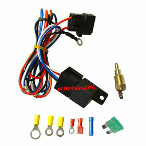 Universal 30 Amp Cooling Relay Wiring Kit temperature Control For Thermo Fans