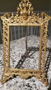 Antique Gold Gilt Heavy Ornate Metal Picture Frame Glass 4 X 6 Picture Vintage