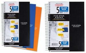 Five Star Spiral Notebook College Ruled 5 Subject 6 X 9 5 Inches 180