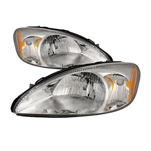 Fits 00 07 Ford Taurus Headlights Headlamps Pair Set Halogen New W xenon Bulbs