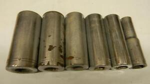 Vintage Craftsman 1 2 Drive V Series 6pc Sae 12pt Deep Sockets
