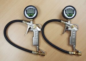 2pc Air Tire Inflating Inflator Digital Gauge Pistol Gun 220psi Brass Chuck