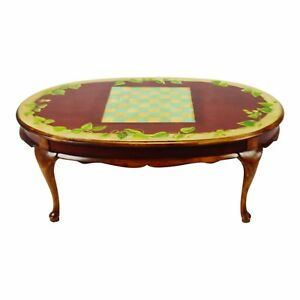 Vintage Hand Painted Checkerboard Top Coffee Table