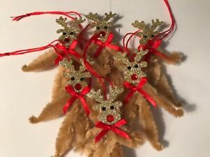 Vintage Style Christmas Ornaments Chenille Feather Tree Gift Tag Item D1