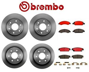 Front Rear Vented Disc Brake Rotors With Ceramic Brake Pad Set Kit Oem Brembo