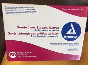 Dynarex Sterile Latex Surgical Glove Powder Free Size 8 0 50 Pairs bx