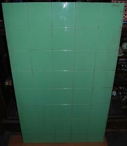 Large Art Deco Jade Vitrolite Glass Panel Backsplash Architectural Antique