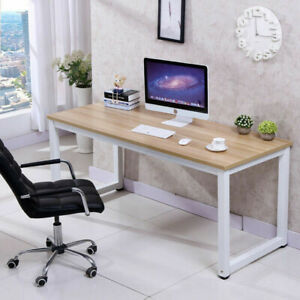 Wood Computer Desk Pc Laptop Table Workstation Study Home Office Black brown