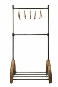 Heavy Duty Commercial Grade Clothing Garment Wood metal Rack On Casters 76 h