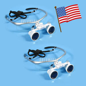 Usa 2 Dental Surgical Binocular Loupes 3 5x420mm Glasses For Led Headlight