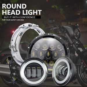 7 Motorcycle Led Projector Daymaker Headlight Passing Light For Harley Davidson