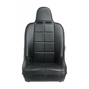 All Black Leatherette Cipher Auto Universal Fixed Back Suspension Truck Suv Seat