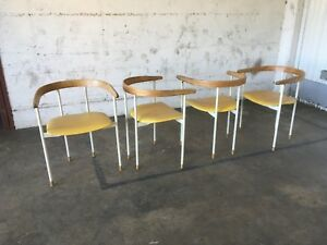 Rare Set Of Four Heywood Wakefield A 619 C Tubular Captain S Chair