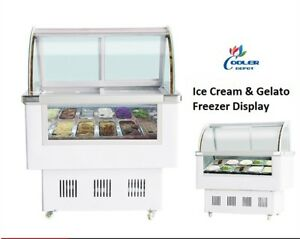 Ice Cream Refrigeration Showcase Machine 12 Pan Gelato Ice Cream Display Case
