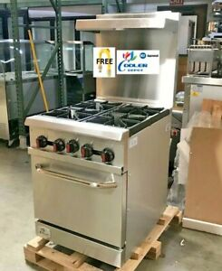 New 24 Oven Range 4 Burner Hot Plate Stove Commercial Kitchen Restaurant nsf