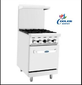 New 24 Commercial Gas Oven Range W 4 Burner Stove Top Hot Plate Nsf