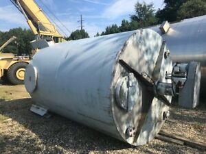 Used 3 000 Gallon Vertical Stainless Steel Mix Tank W Agitator 22 Side Manway