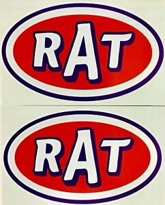 2 Pack Rat Rod Hot Rod Decal Sticker Chopper Rat Fink Vintage Racing Oil Tools