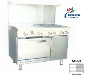 New 48 Oven Range Griddle 4 Burner Combo Commercial Kitchen Made In Usa Nsf