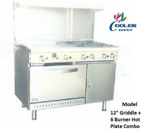 New 48 Oven Range Griddle 6 Burner Combo Commercial Kitchen Made In Usa nsf