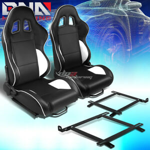 Black Pvc Reclinable White Line Racing Seat low Mount Bracket Fit 99 04 Mustang
