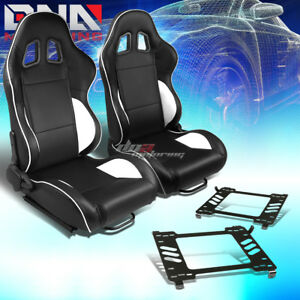 2x Black Pvc Reclinable White Line Racing Seat bracket Fit 05 14 Ford Mustang