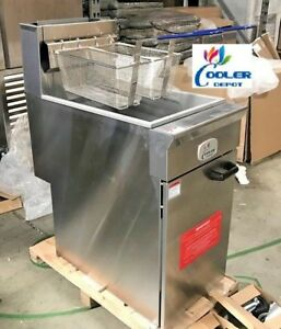 New Commercial Natural Gas 40lb Stainless Steel Floor Deep Fryer Fried Food Nsf