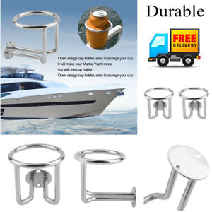 2 X Practical Stainless Steel Car Boat Cup Holder For Marine Yacht Truck Metal