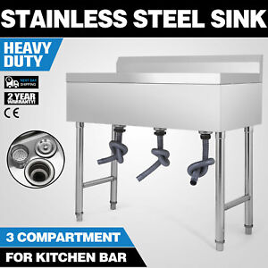 37 5 x19 3 Compartment Stainless Steel Sink Wash Table Heavy Duty Utility