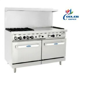 New 60 Commercial Gas Double Oven Range 36 Griddle And 4 Burner Hot Plate Nsf